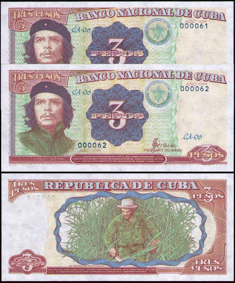 El Billete Cubano de 3 Pesos Cuba_314