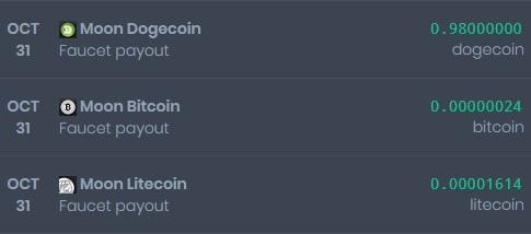 [Provado] Sites moon - receba vários pagamentos diários - Lucro de 297 Doges e 0.03 Litecoin Nymero11