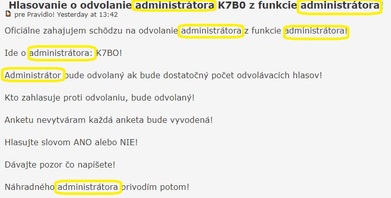 Hlasovanie o odvolanie administrátora K7B0 z funkcie administrátora! Admini10