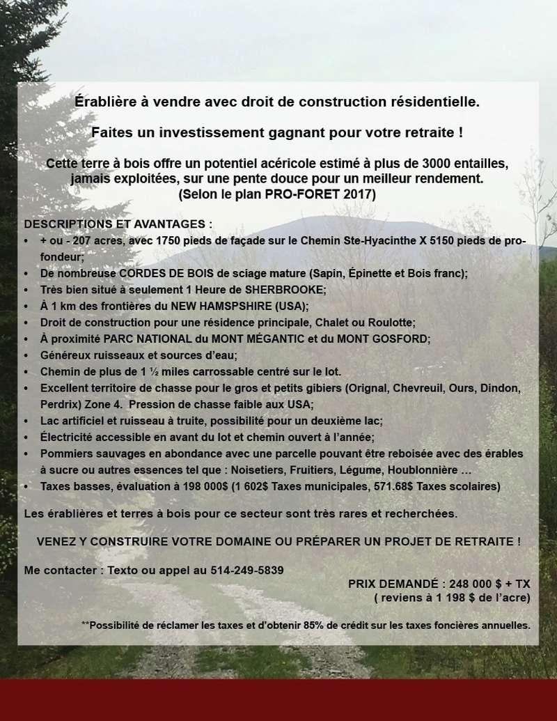 Terre a bois 207 acres 3000 entailles de pret Fiche_10