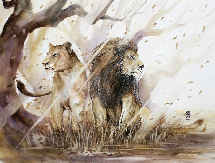 Les animaux peints à l'AQUARELLE - Page 15 I-crea10