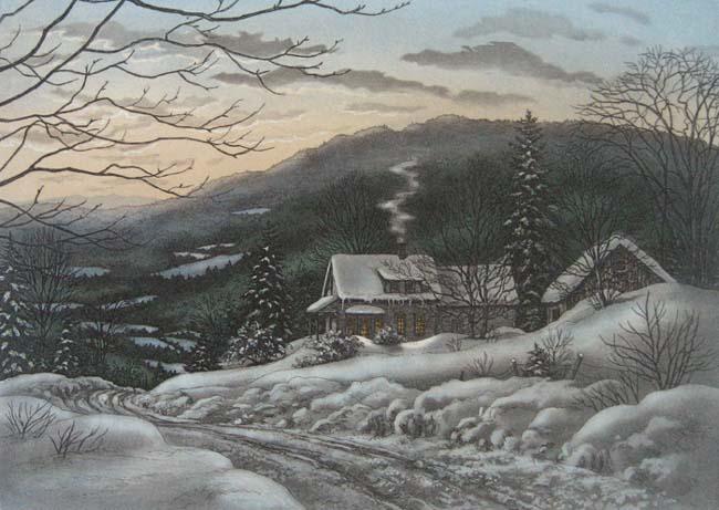 Tous les paysages en peinture. - Page 13 Snowy-11