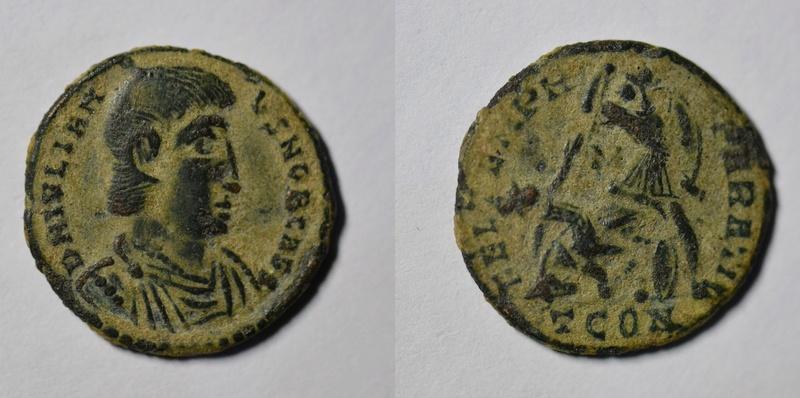 AE3 de Juliano II. FEL TEMP R-EPARATIO. Soldado romano alanceando a jinete caído. Arlés. 143_ju10