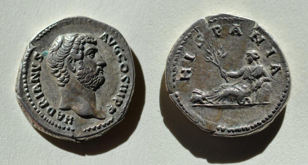 Denario de Adriano. HISPANIA. Hispania recostada a izq. (conejo en los pies). Roma.  32_adr13