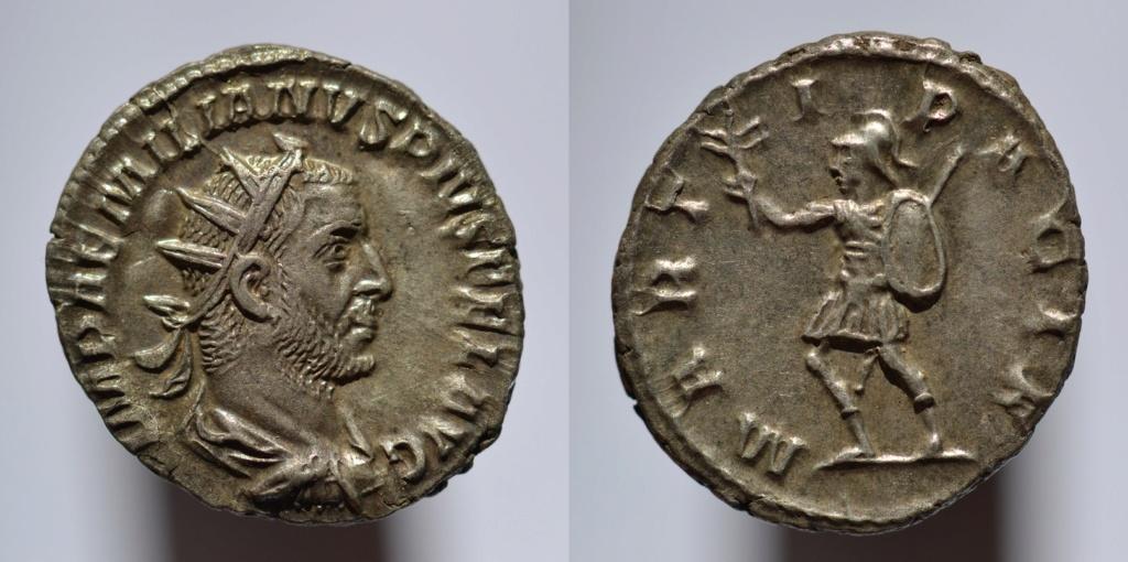 Antoniniano de Emiliano. MARTI PACIF. Marte avanzando a izq. Roma Aemili10