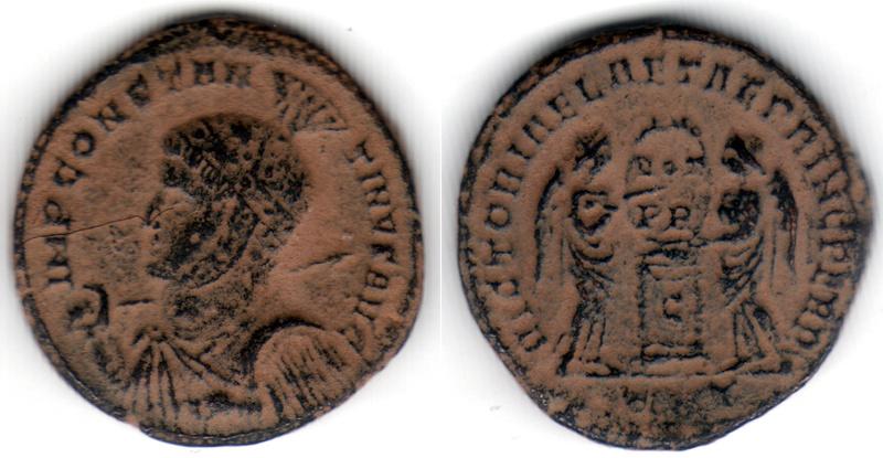AE3 de Constantino I. VICTORIAE LAETAE PRINC PERP. Ticino Consta12