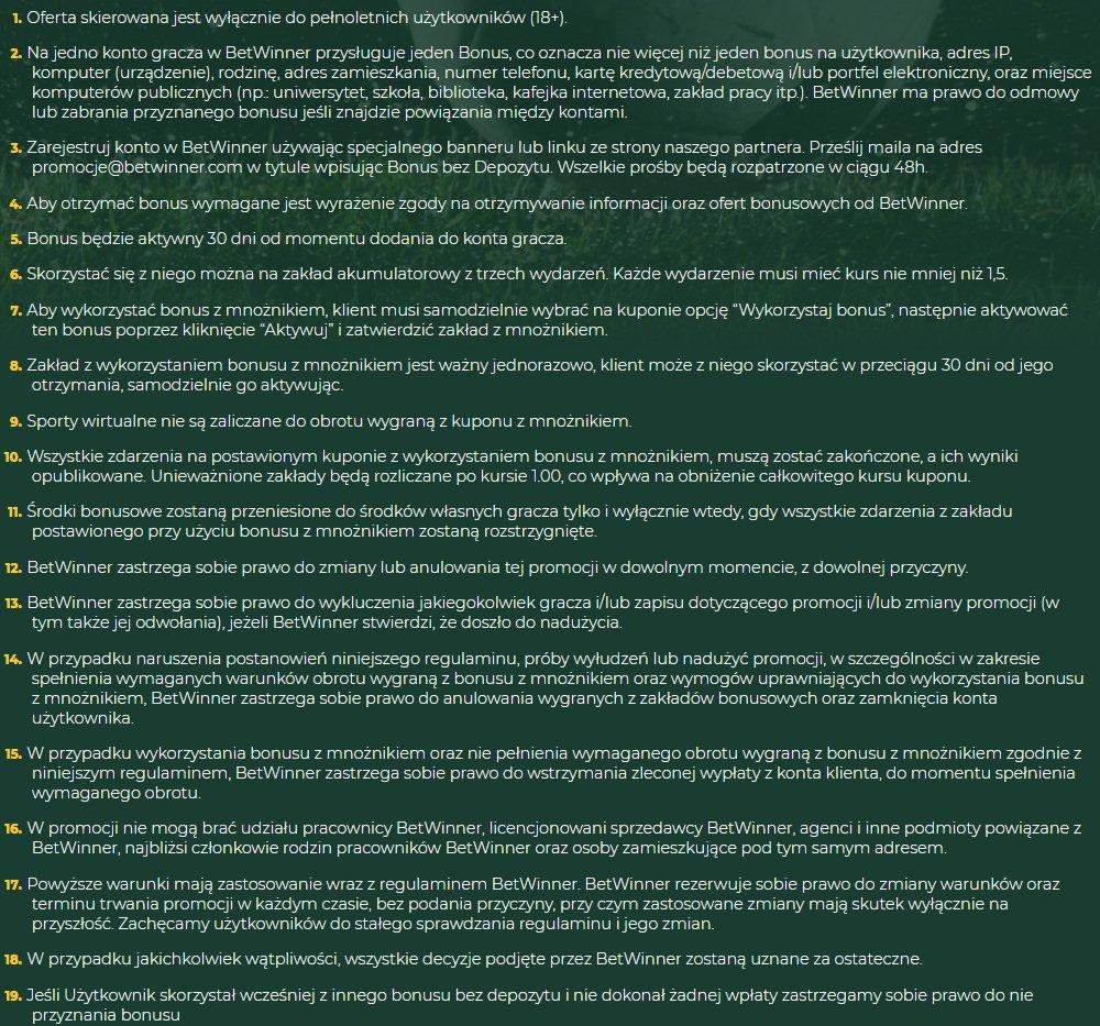 Betwinner sportsbook 25 PLN za darmo bez depozytu 21070010