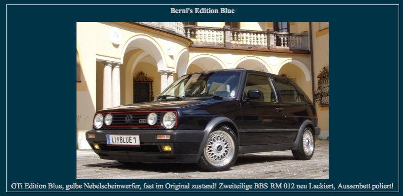 """Golf II """"EDITION BLUE"""" attention à ne pas se tromper, Couleur LC5M intérieur cuir Noir/bleu et moquette identique à l'EDITION ONE.... Captur90"""
