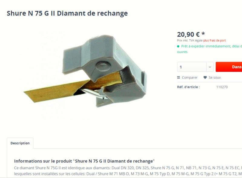 diamant pour DUAL DM 95 G /shure n75 g Hifiph10