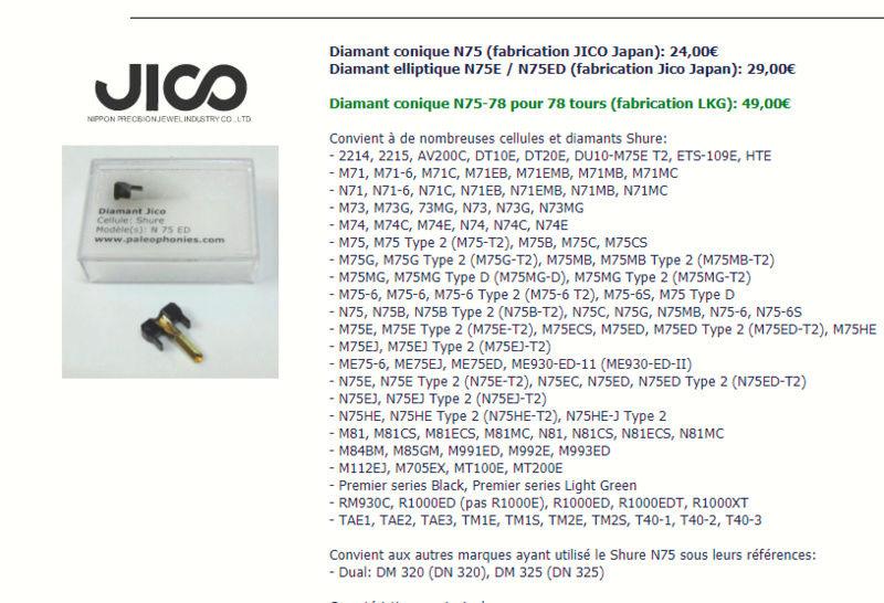diamant pour DUAL DM 95 G /shure n75 g Jico10