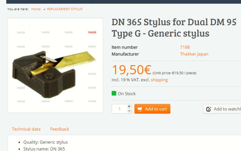 diamant pour DUAL DM 95 G /shure n75 g Thakke11
