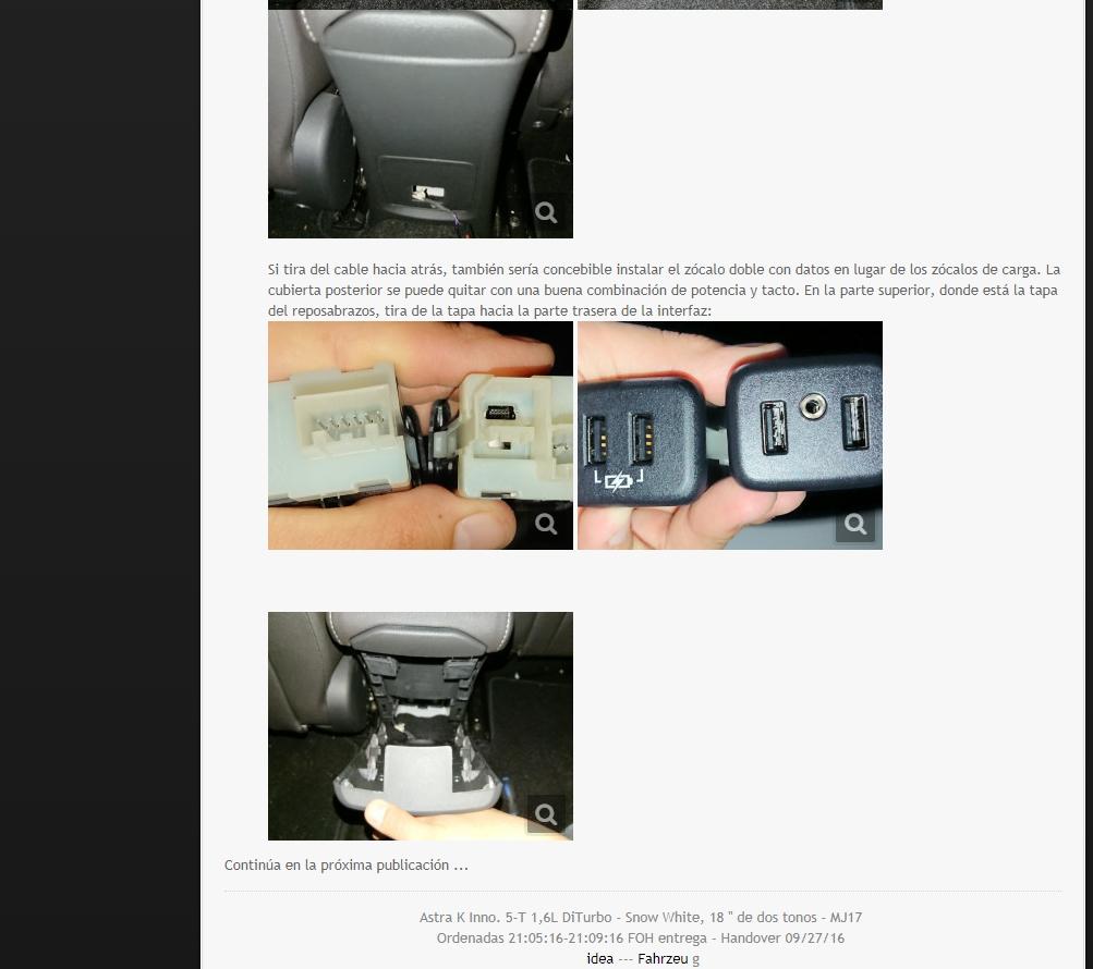 [Brico Astra K] Sustituir USB del cajón de apoyabrazos por hub integrado. 310