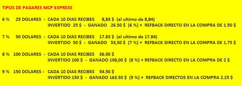[COMPLETA] PAGARES MCP EXPRESS A 30 DIAS - Pago cada 10 días- Refback fijo x bono - Inversión Individual Juan10