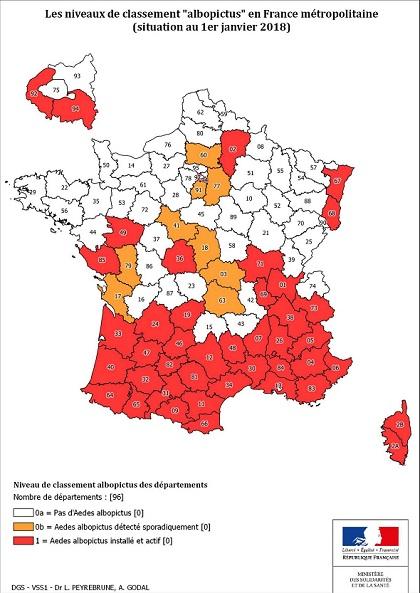 Moustique tigre: les autorités appellent à la vigilance, la carte des départements touchés Mousti10