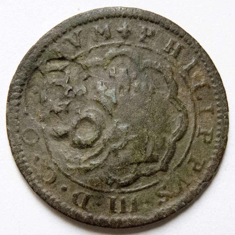 4 maravedis 1599 Segovia, Felipe III. Triple resello: VIII 1603, XII 1636, 8 1652 P1030510