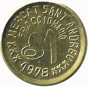 Moneda de necesidad. Mercat San Andreu Peseta10