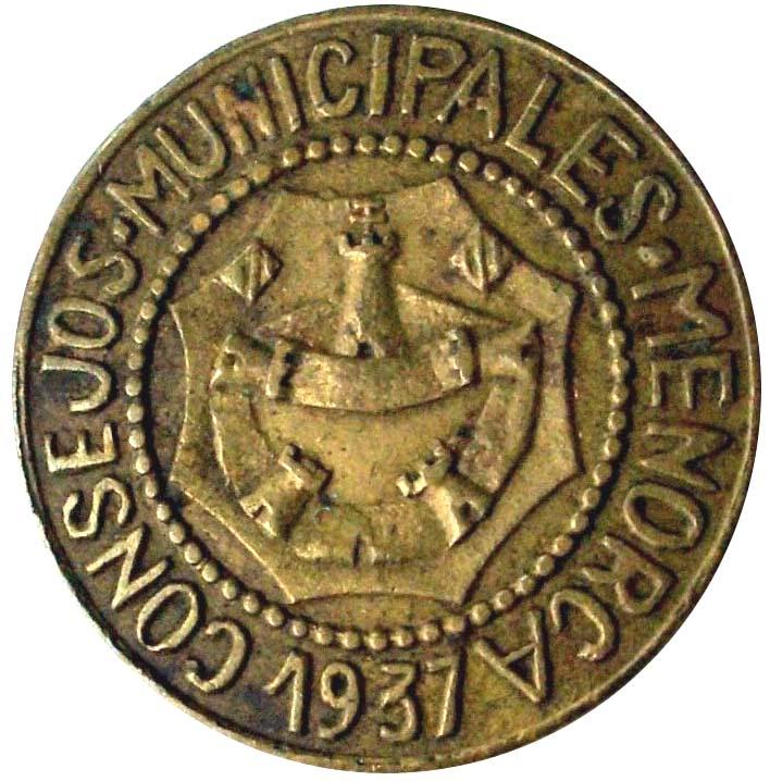 Consejos Municipales de Menorca, 1 Peseta 1937 SC/UNC V2_cop10