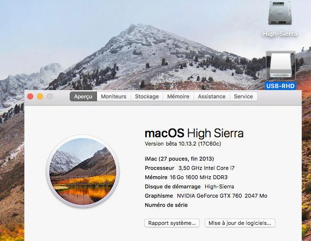 Beta macOS High Sierra Beta 10.13 1 (17B46a) a 10.13.2 Beta et +++ Sans_t11