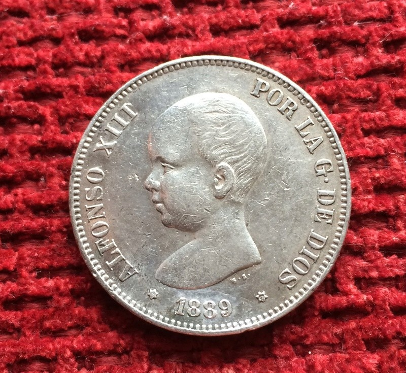5 pesetas 1889. Alfonso XIII. MP M Image72