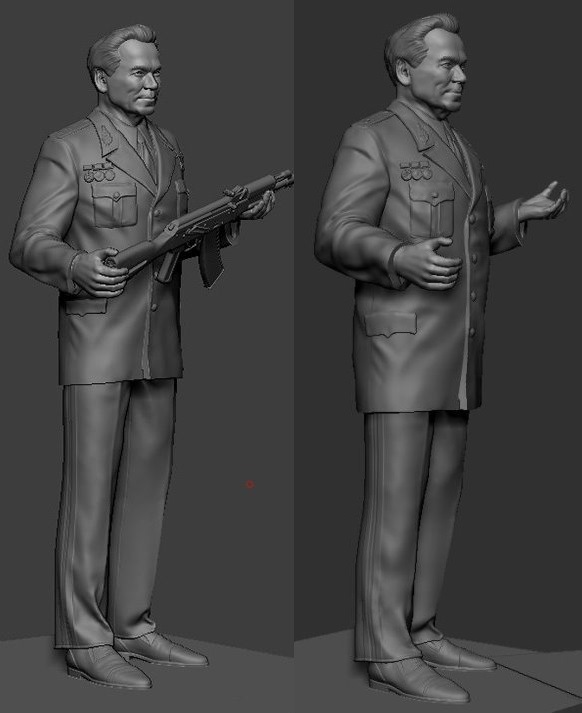 Фигура М.Т. Калашникова в масштабах 1/24 и 1/35 Yezeza12