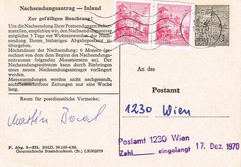 Drucksorten der Post - Nachsendungsantrag Na10