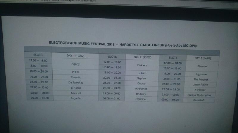 Line Up Electrobeach 2018 Hardstyle Stage Port Barcares France Line_u10