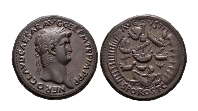 Subasta Tauler & Fau 10/5/2018. Sestercio Nerón - Puerto de Ostia y otras monedas que son la Hostia Ostia110
