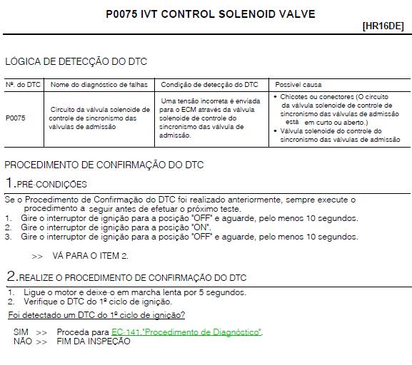 Erro P0075 NISSAN SENTRA P0075_11