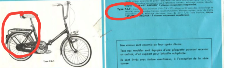 MOTOCONFORT PLF 1969 3 VITESSES sturmey  20180411