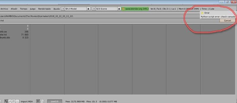 Error al importar cabeza al Blender Blende11