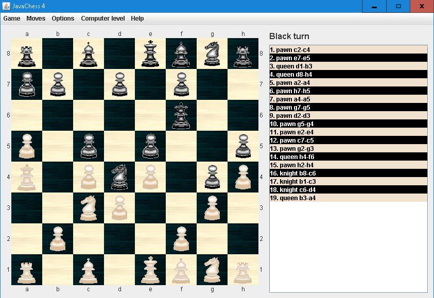 Nouveau programme d'échecs en Java Niveau10
