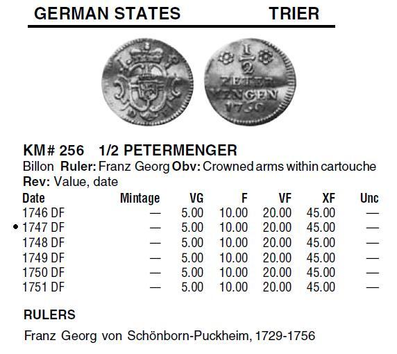Estado alemán. 1/2 Petermenger de vellón de 1747. Ceca de Trier Catalo11
