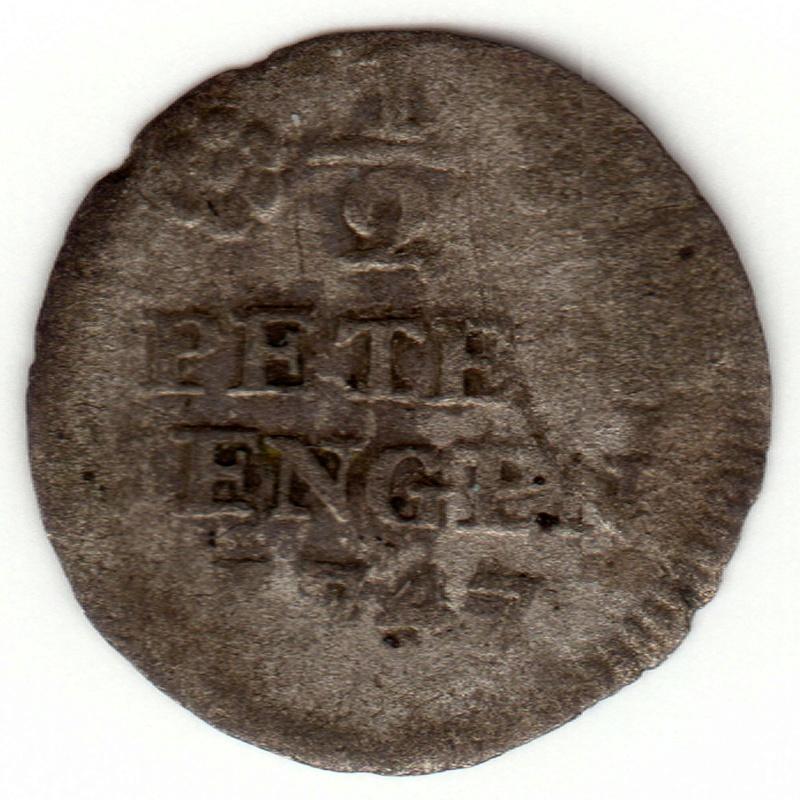 Estado alemán. 1/2 Petermenger de vellón de 1747. Ceca de Trier Cruz10