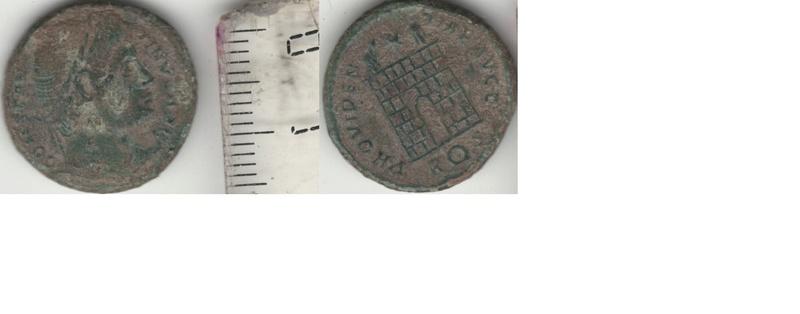 AE3 de Constantino I. PROVIDENTIAE AVGG. Roma Consta13