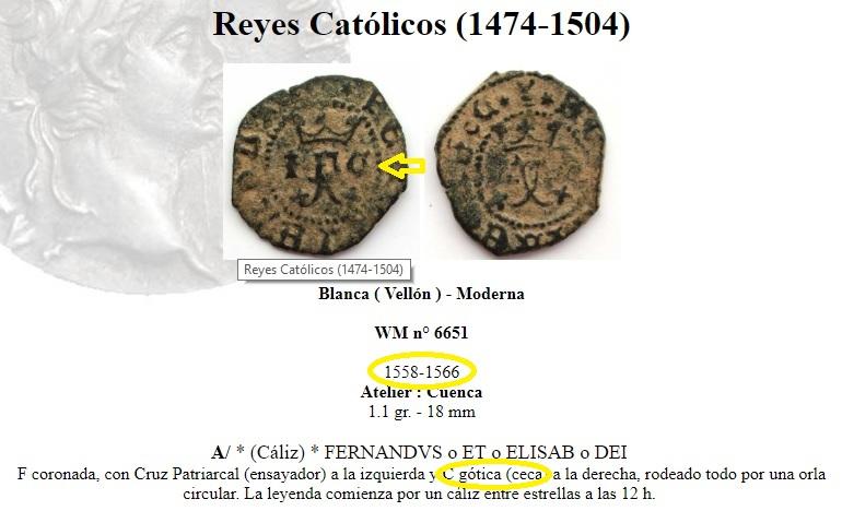 4 Maravedis a nombre de los RR.CC. ceca Cuenca Ceca_m10