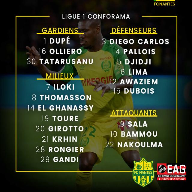 L1 J10  Samedi 21 octobre 2017 - 20:00 FC Nantes / EA Guingamp P1grou10