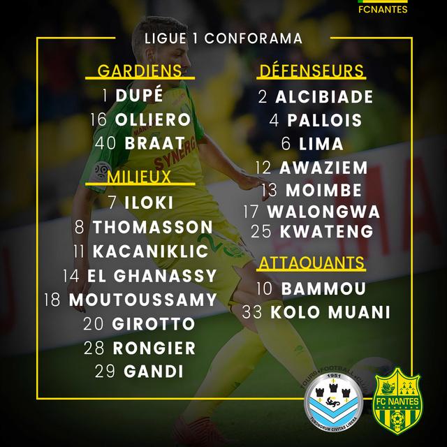 Coupe de la Ligue - 16e  Mercredi 25 octobre 2017 - 21:05 Tours FC / FC Nantes P1grou11