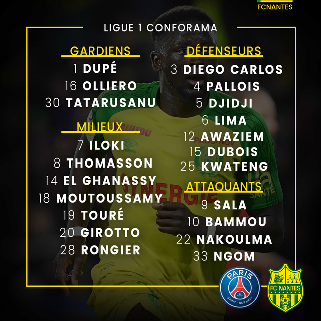 L1 J13  Samedi 18 novembre 2017 - 17:00 Paris SG / FC Nantes P1grou13