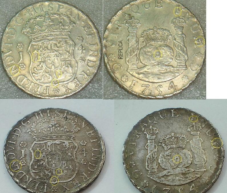 4 Reales de Fernando VI de 1754, Guatemala. Columnario 175412