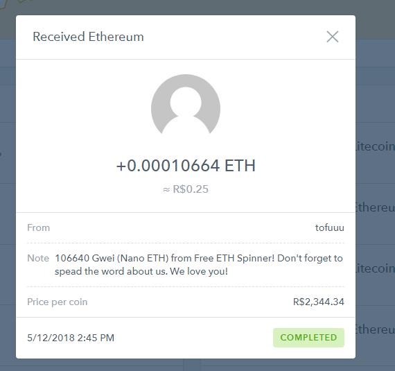 [Provado] 2 Apps tipo spinner para ganhar Eth e Litecon na wallet da coinbase. Eth_ap10