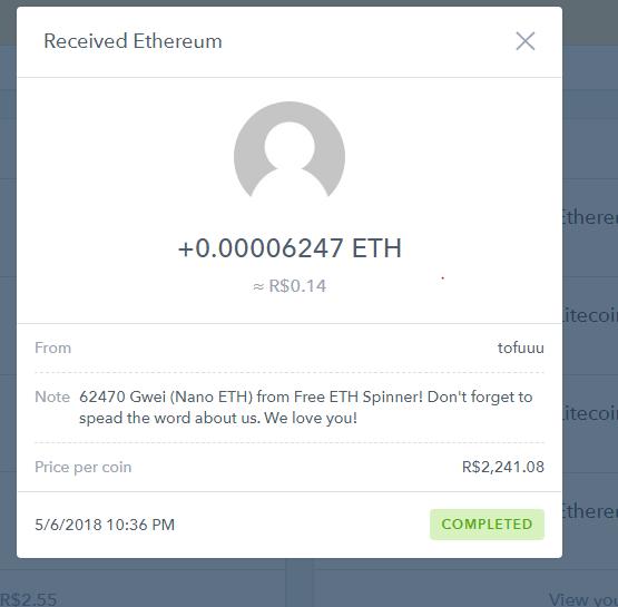[Provado] 2 Apps tipo spinner para ganhar Eth e Litecon na wallet da coinbase. Pagto210