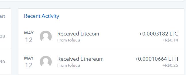 [Provado] 2 Apps tipo spinner para ganhar Eth e Litecon na wallet da coinbase. Payout10