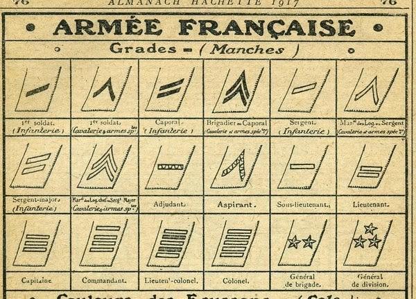 Paires de galons français Grades10