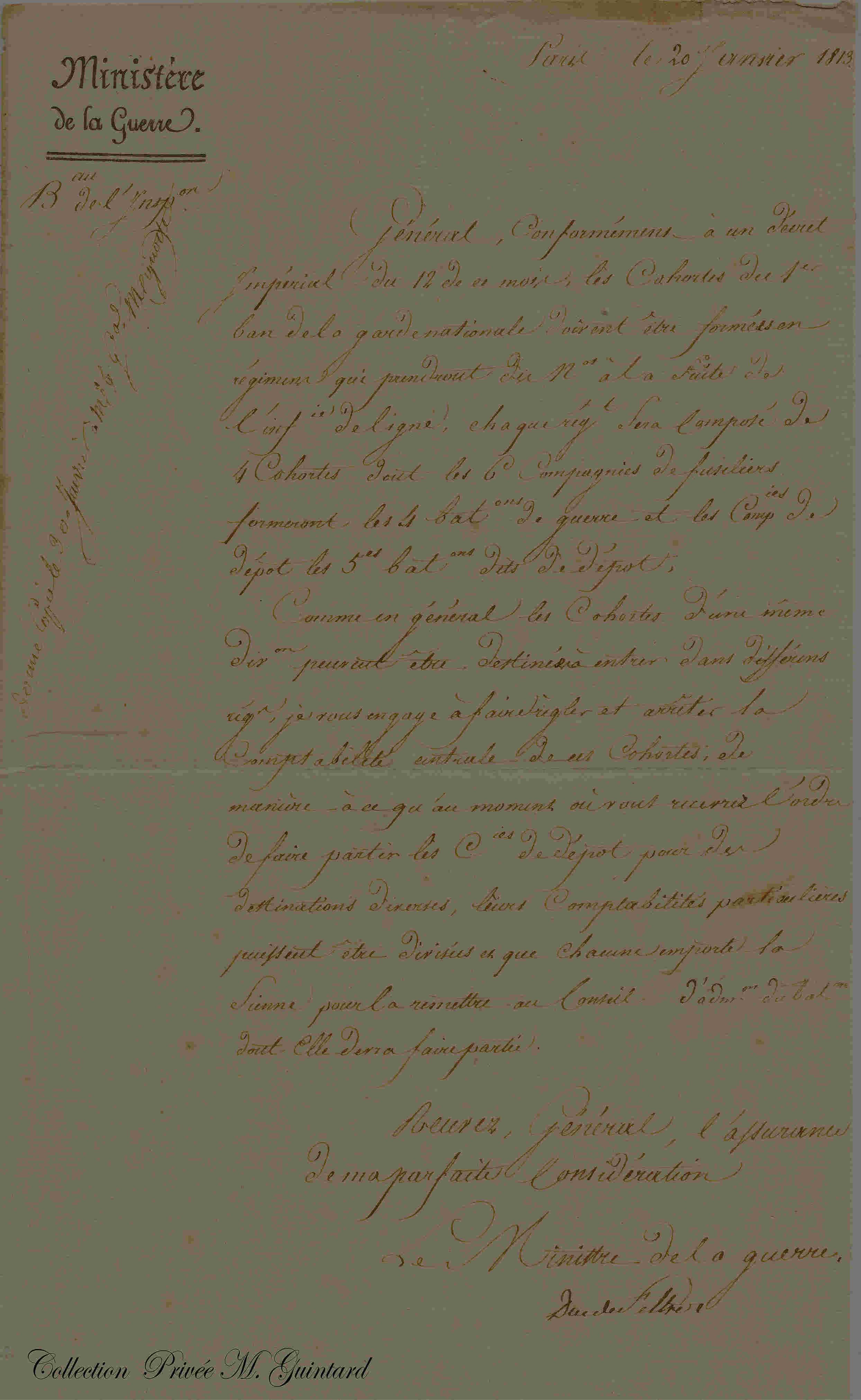 Lettre du Ministre Clarke au Général l'Huillier de Hoff Missiv10
