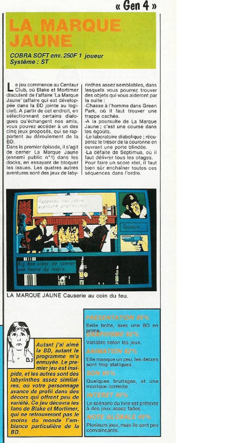 Blake & Mortimer / La marque jaune /  Cobrasoft   amstrad  - atari st - thomson Screen11