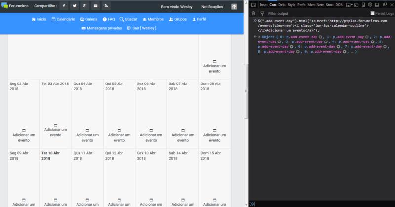 Script para linkar calendario com eventos C10