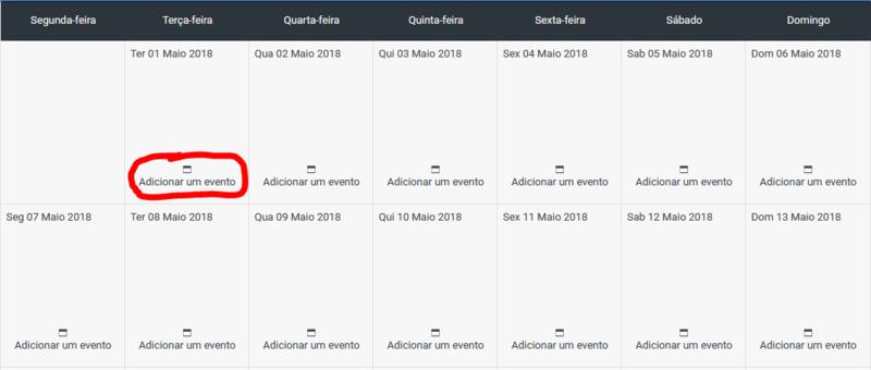 Criar um novo Evento a partir do Calendário Calend10