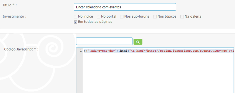 Script para linkar calendario com eventos D10