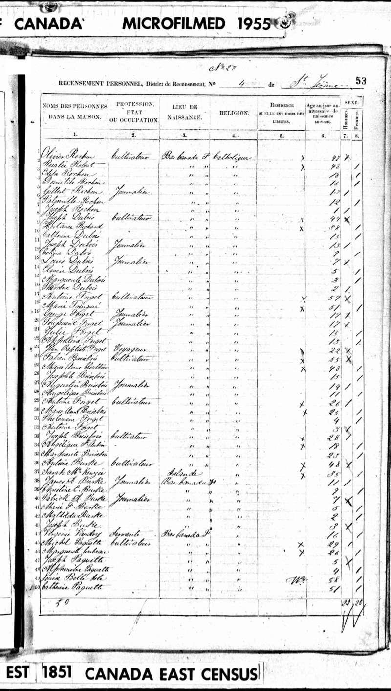 Patrick Burke et Obeline Dorion - Ascendants de ma famille 1851_r11