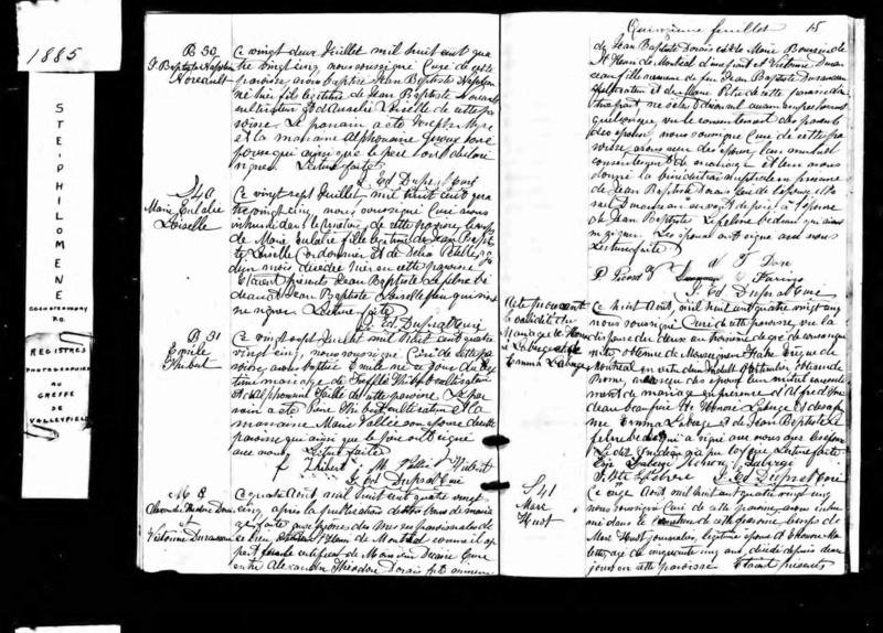 Date et année du décès de Marie Ursule Martin et de Victorine Duranceau Acte_d17